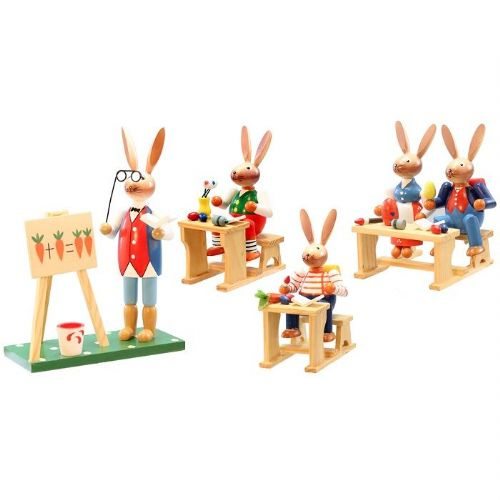 Easter Rabbit Wooden School Decoration Set
